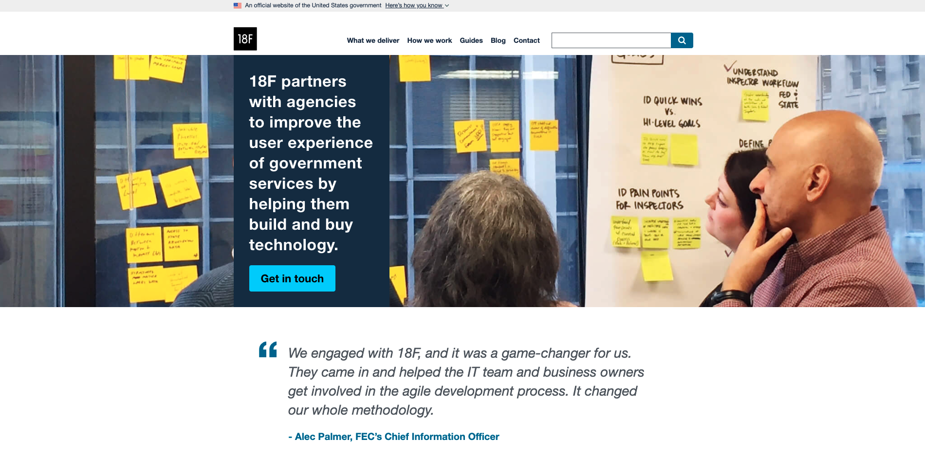 Screenshot of the 18F site with a hero image showing folks at work