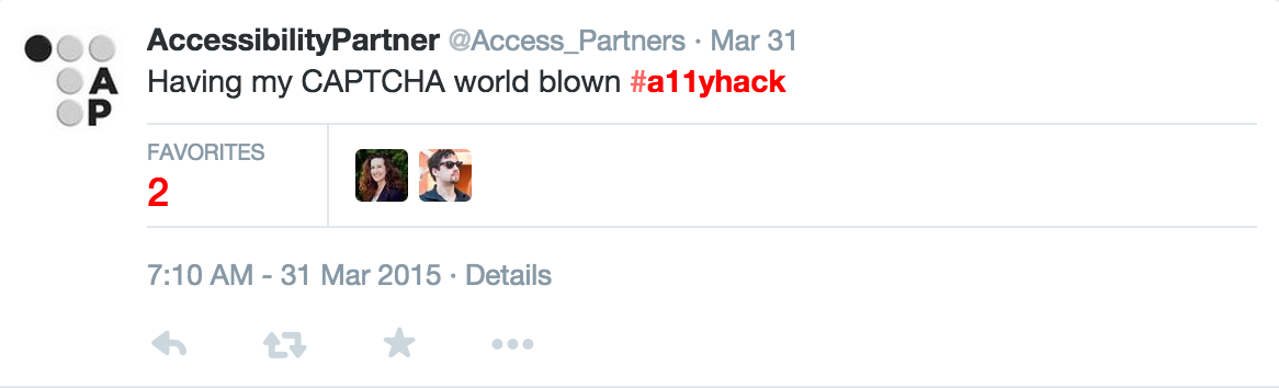 "A tweet from Accessibility Partner: ""Having my CAPTCHA mind blown #a11yhack"""