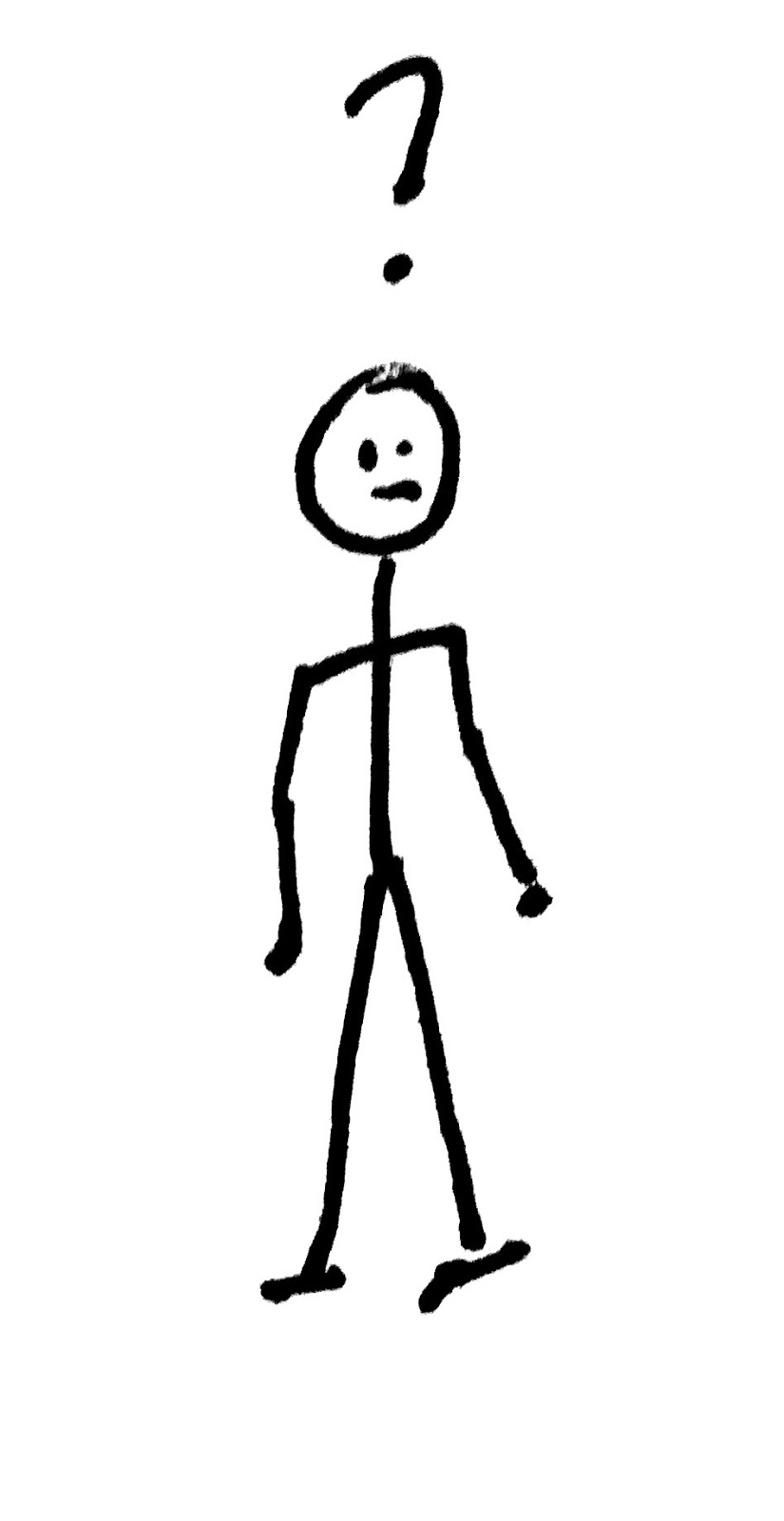 A drawing of a quizzical looking stick figure examining a manageable set of components.