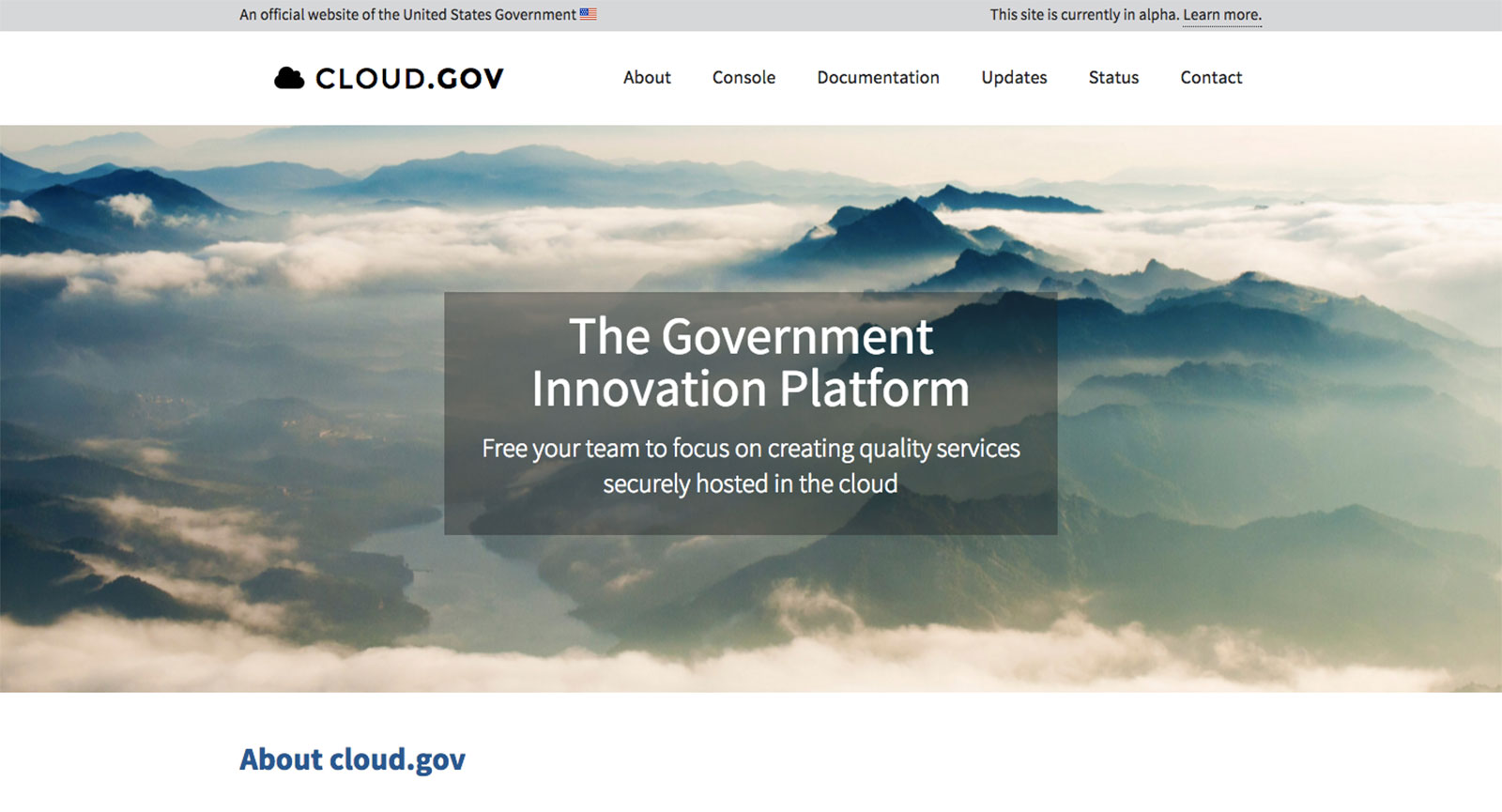 The cloud.gov homepage