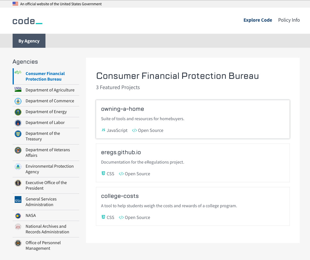 The code.gov homepage showing CFPB's open source resources