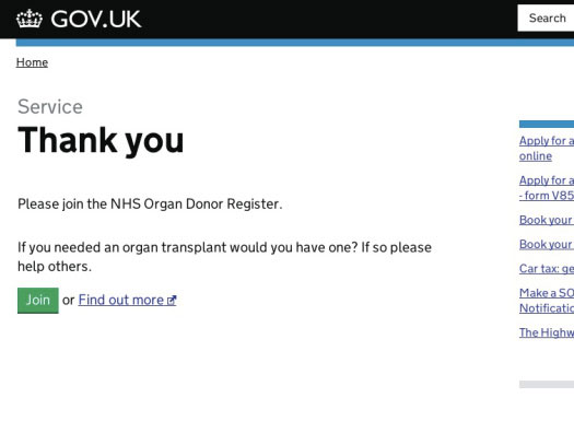 "A screenshot of the GOV.UK screen with ""Please join the NHS Organ Donor Register"" on a thank you page."