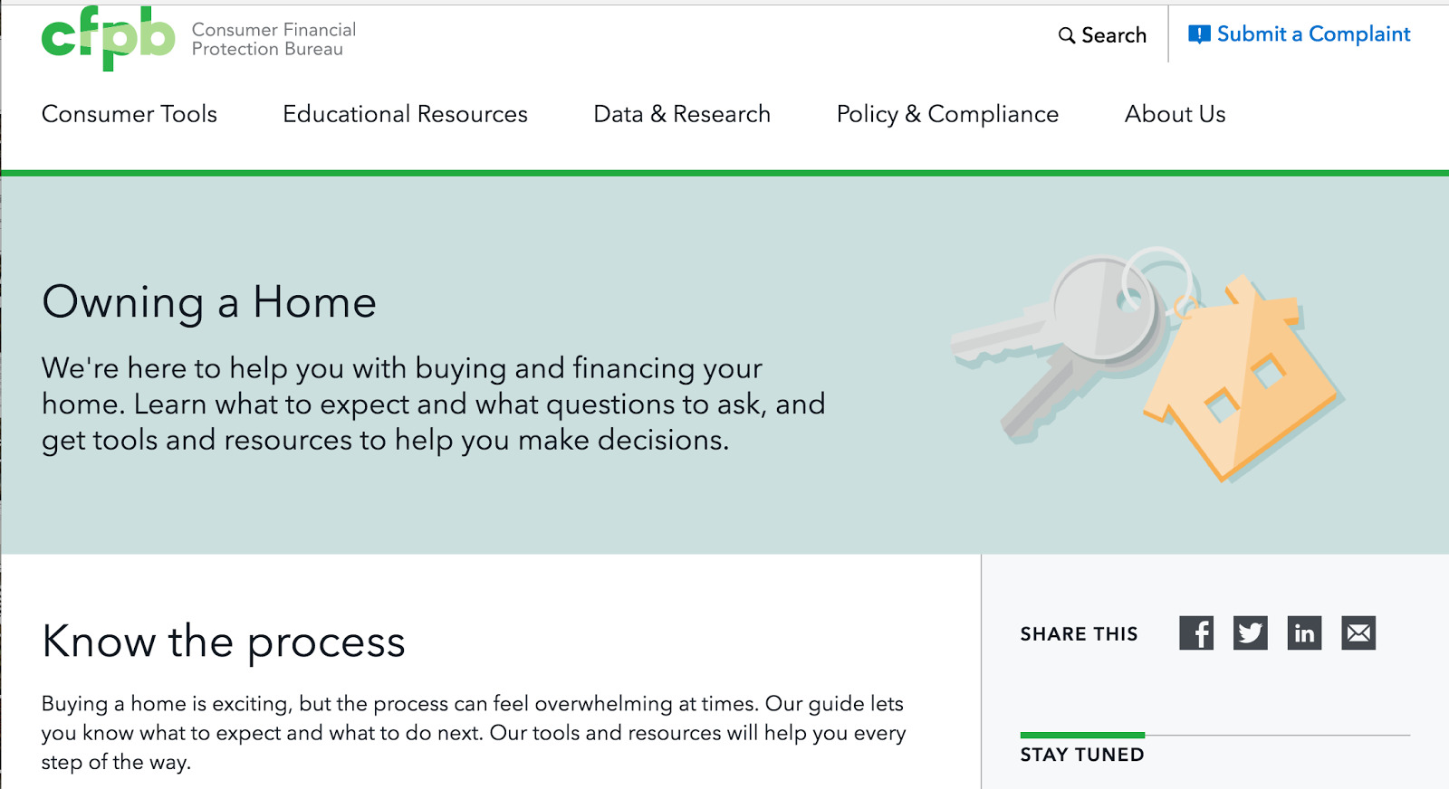 The Consumer Financial Protection Bureau's Owning a Home feature.