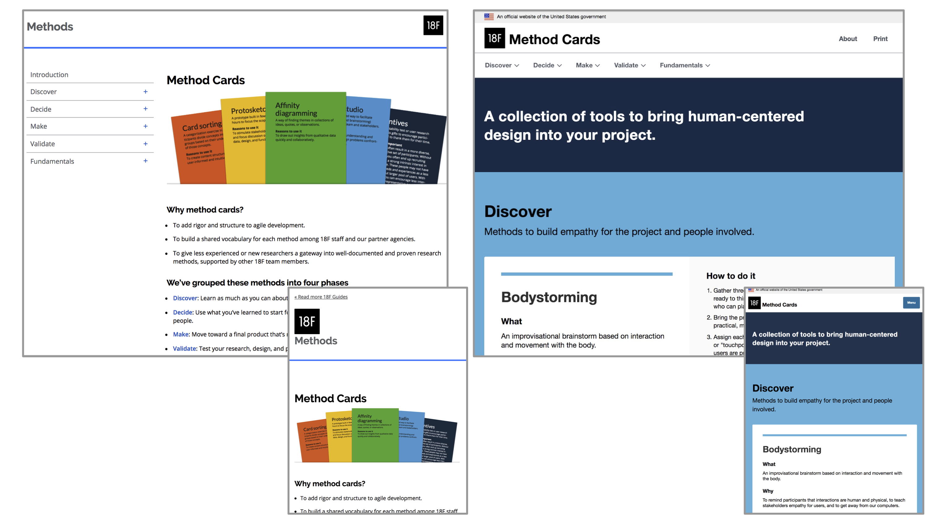 Two images side by side of the method cards website. The left image is the older version while the right is the newer version with blue background