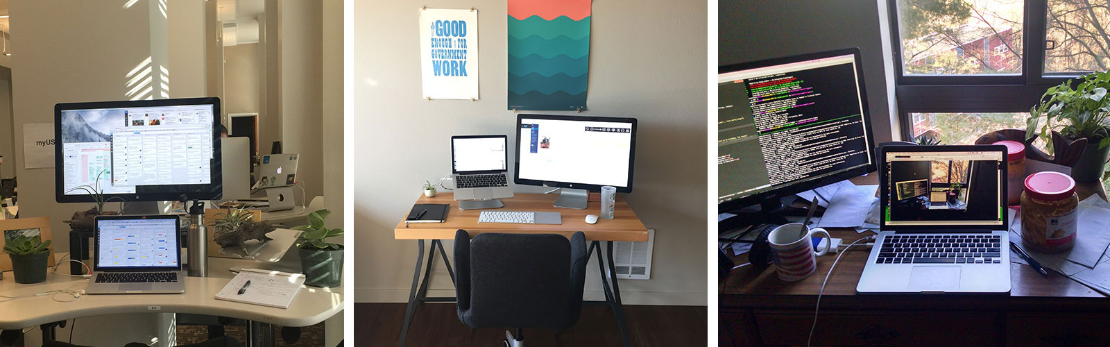 Three pictures of desks with varying workplace styles.