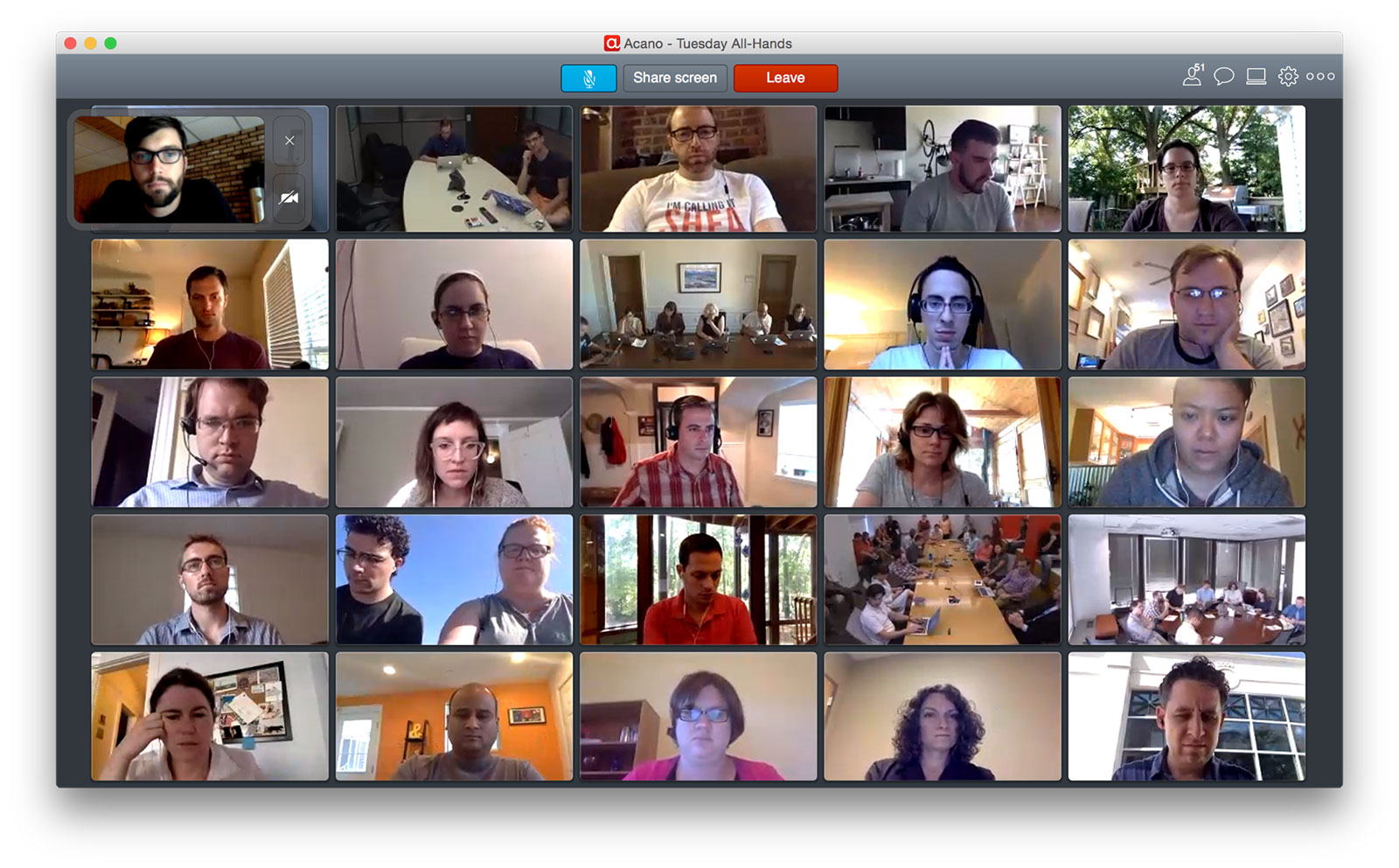 A grid of 18F team members using video chat to attend a meeting.