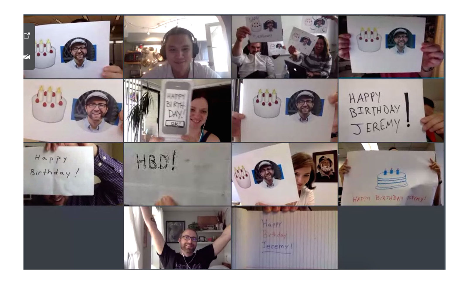 A grid of 18F team members using signs to wish their colleague a happy birthday.