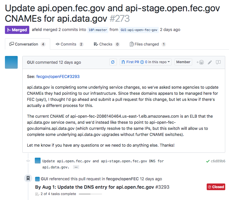 Screenshot of a pull request in GitHub, with an explanation of why the change is being made. It also shows that an issue from another repository links to the pull request.
