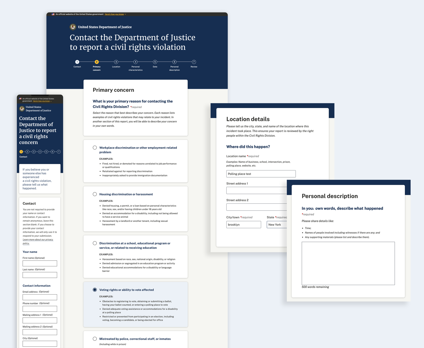 Pages of the new online civil rights complaint form.