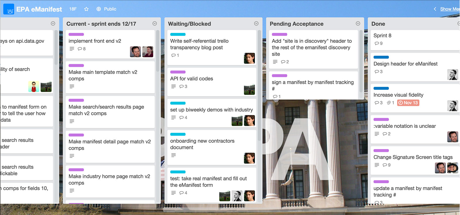 The public Trello board for the e-Manifest project