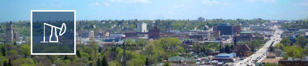 Photo of Minot, ND with an oil well icon from the USEITI project superimposed.