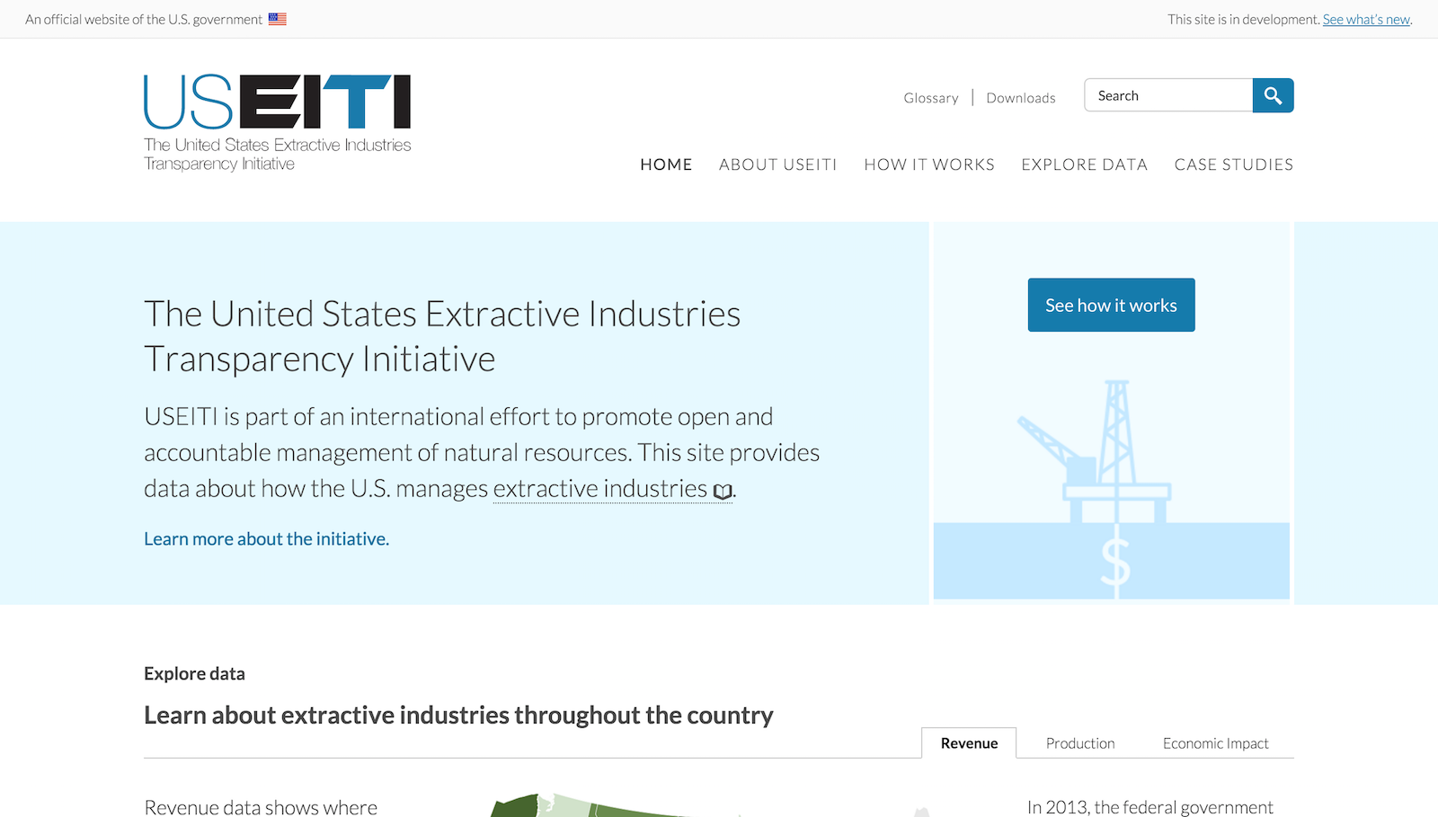 A screen shot of the new USEITI homepage