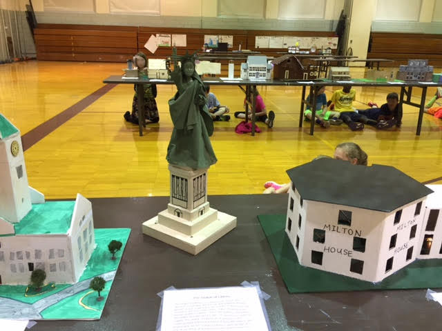 Models of the Statue of Liberty and other national parks created by the fourth grade students.
