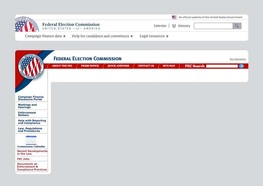 An image of the new and previous FEC website navigation systems