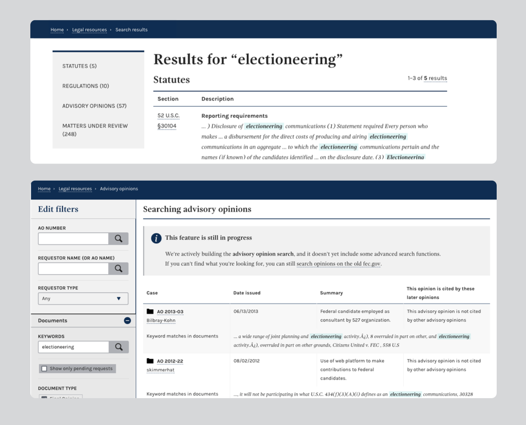 An image of the new combined legal search results and the new search interface for advisory opinions