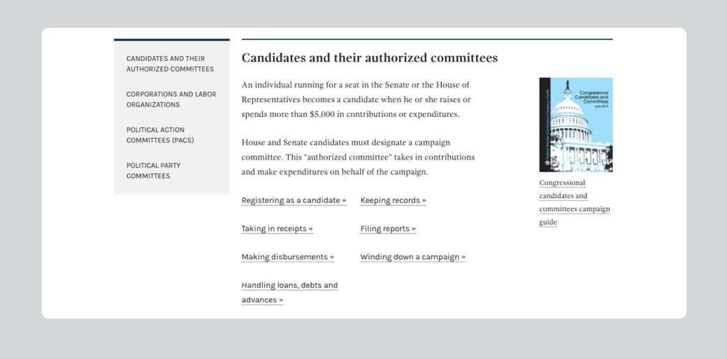 An image of the new content structure in the Help for candidate and committees section