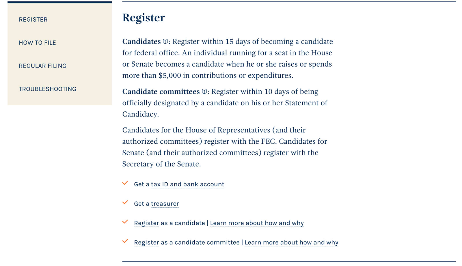 The new checklist for what you need to do to register with the FEC