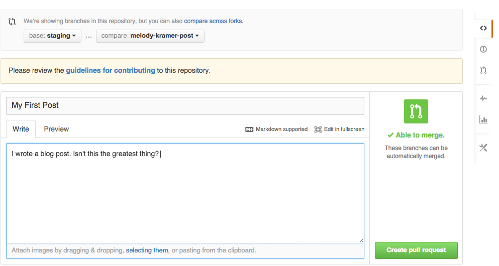 Screen Shot: Creating Pull Request