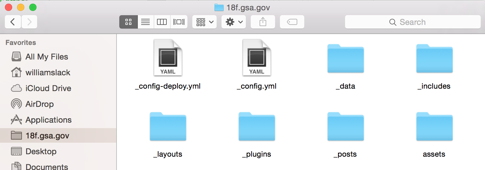 Screenshot: 18f.gsa.gov's repo in mac folder