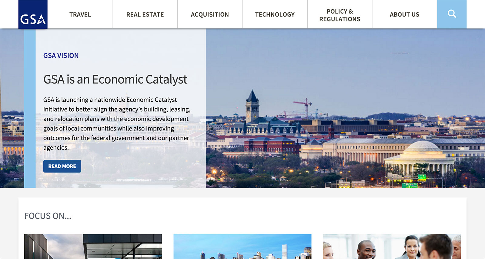 A screenshot of the new gsa.gov homepage