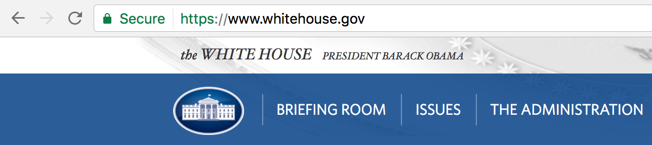 WhiteHouse.gov using HTTPS.