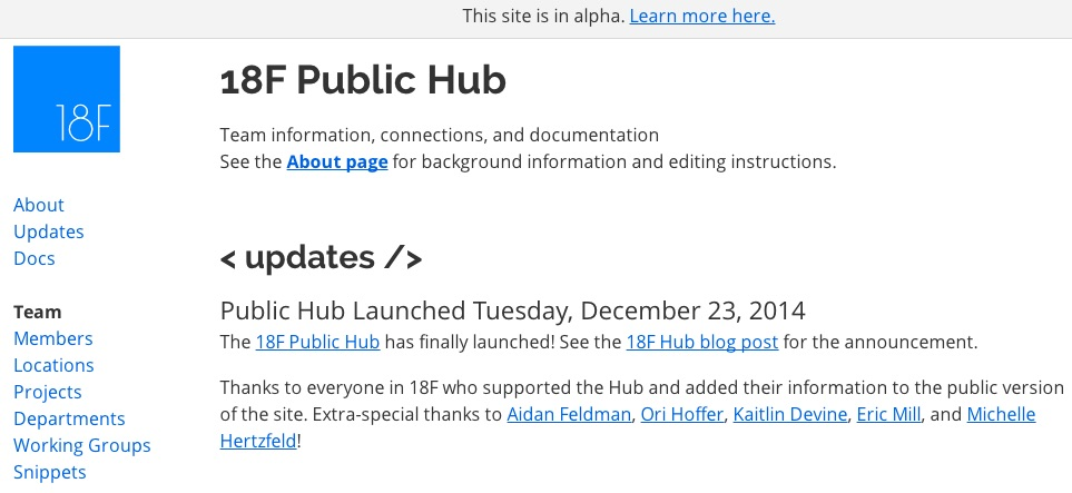 Screenshot of 18F Public Hub (alpha)