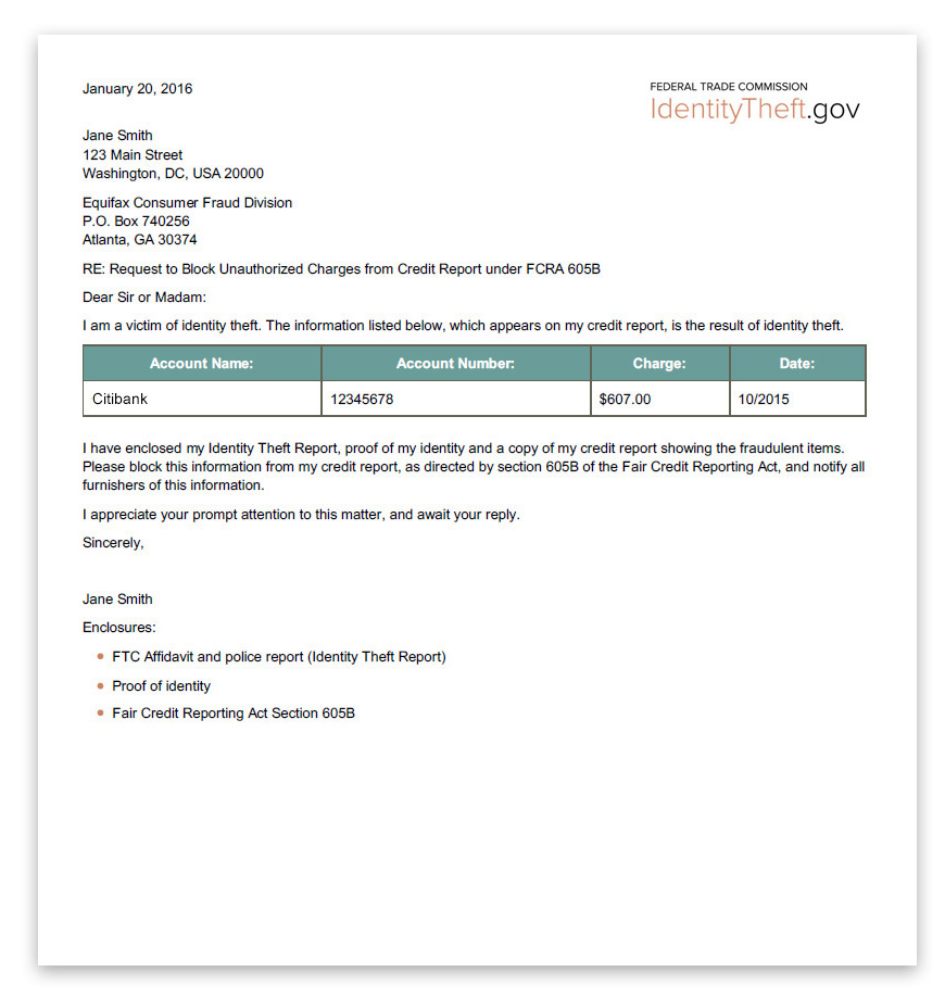 A template letter that users can send to credit reporting agencies