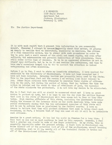 Image of James Meredith letter submitted to the Department of Justice (DOJ) asking for the Department's support in his admission to the University of Mississippi by enforcing federal desegregation laws not being respected by the state.