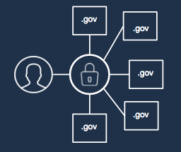 A conceptual diagram showing a user using a single token to authenticate with several .gov domains