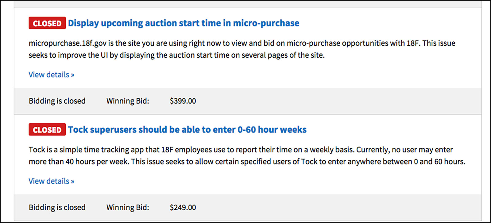 A screenshot of two closed auctions
