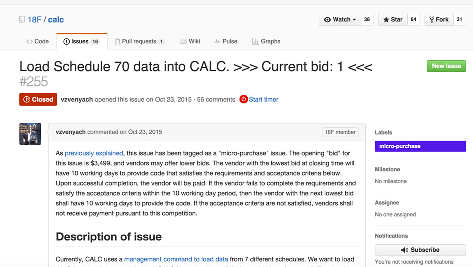 The first version of the micro-purchase experiment used a GitHub issue to track bids.