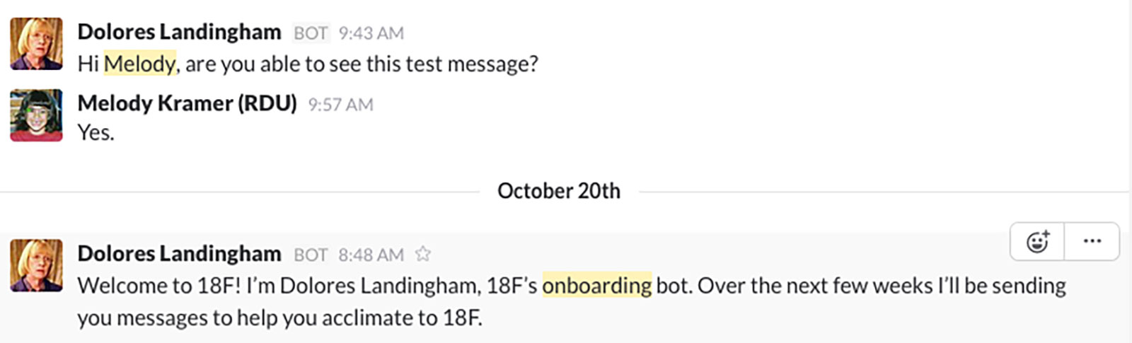 A test conversation with Mrs. Dolores Landingham, the onboarding chat bot.