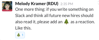 Melody Kramer explaining how to tag messages on Slack