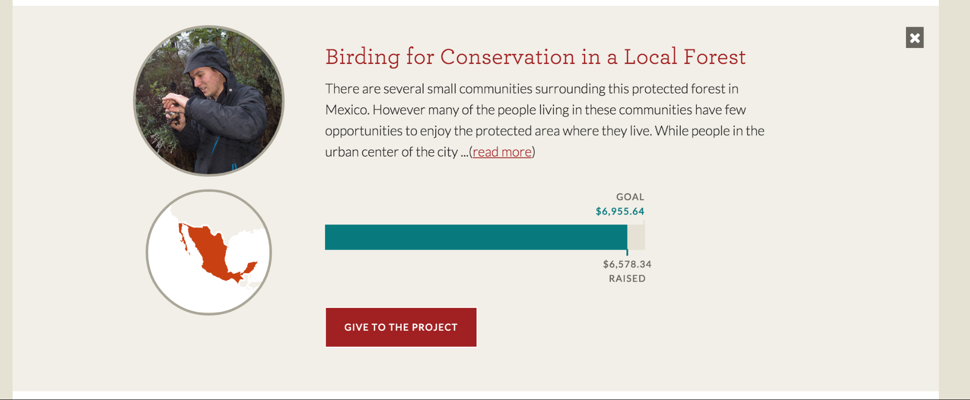 screenshot of donation platform for Peace Corps birding for conservation project