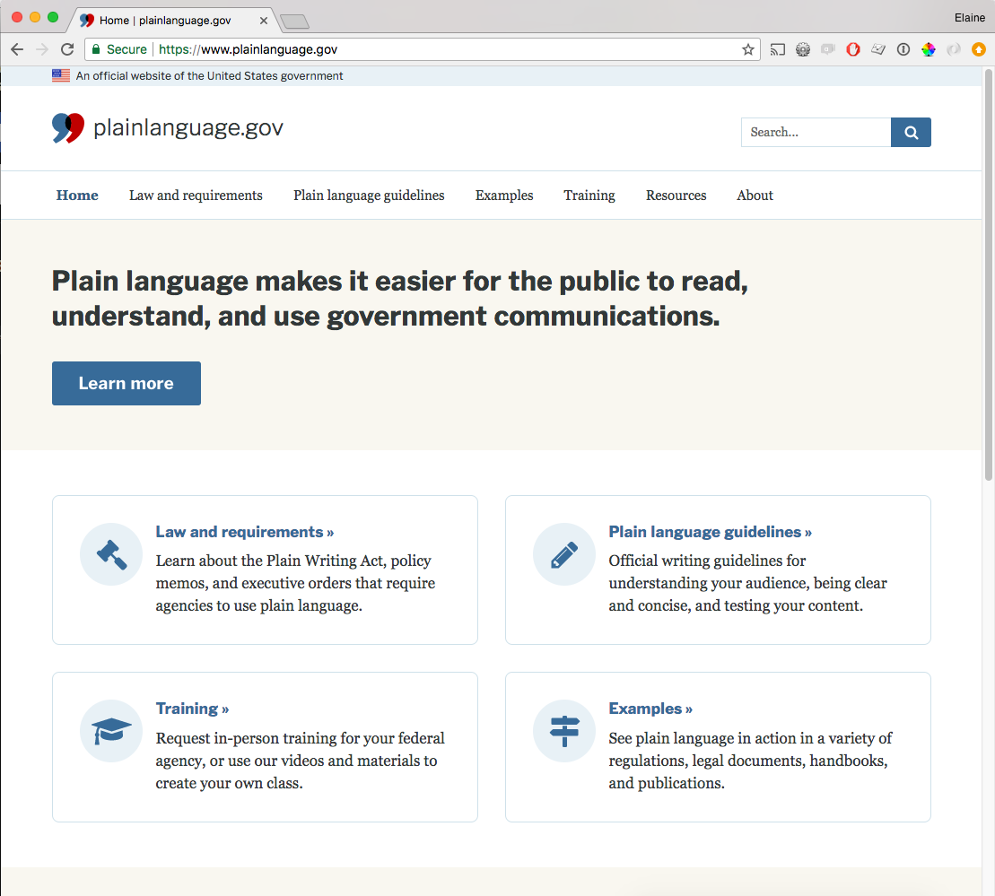 Screenshot of the plainlanguage.gov home page