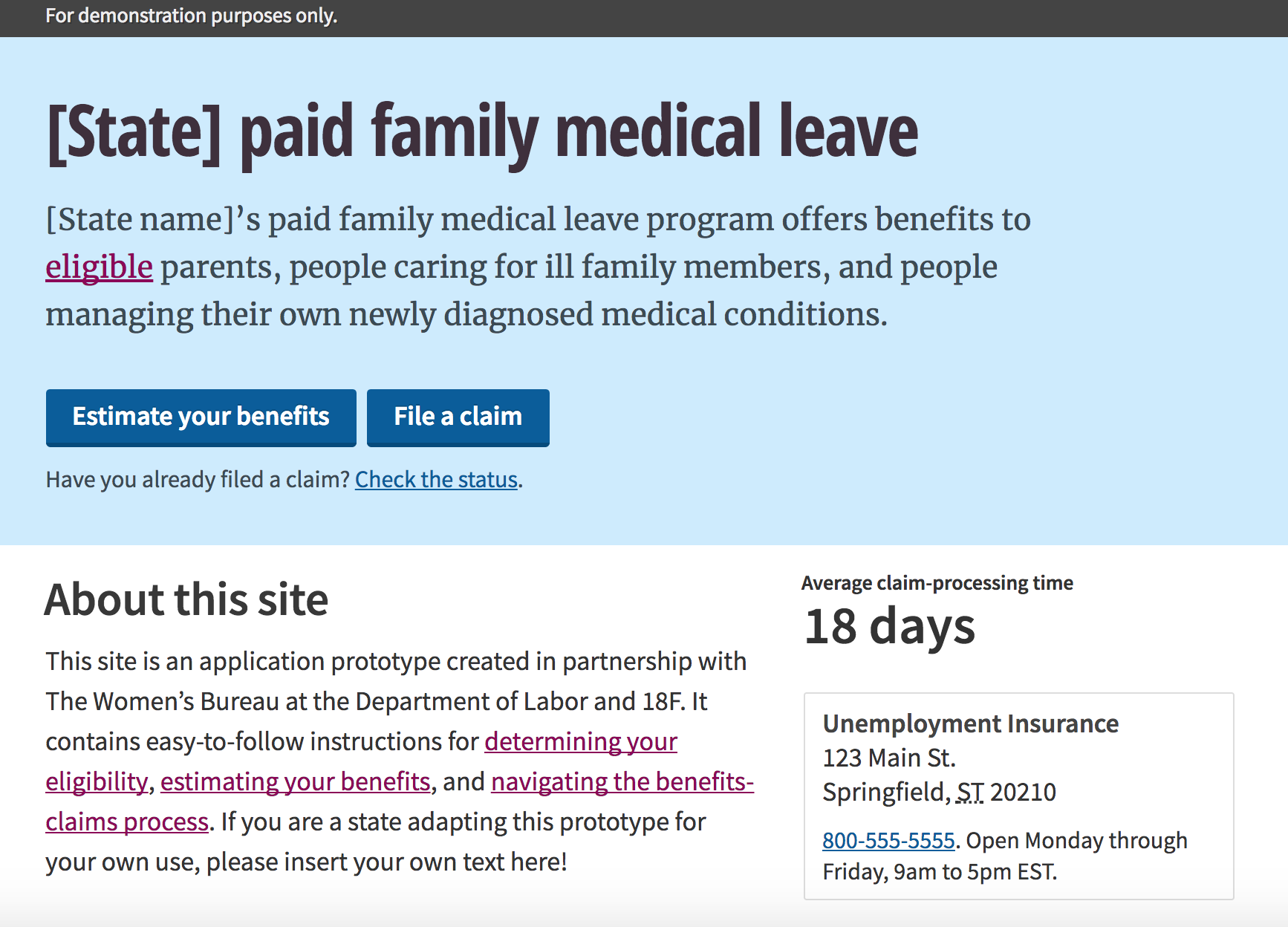 A prototype for paid family leave. Top of the screen is light blue with header