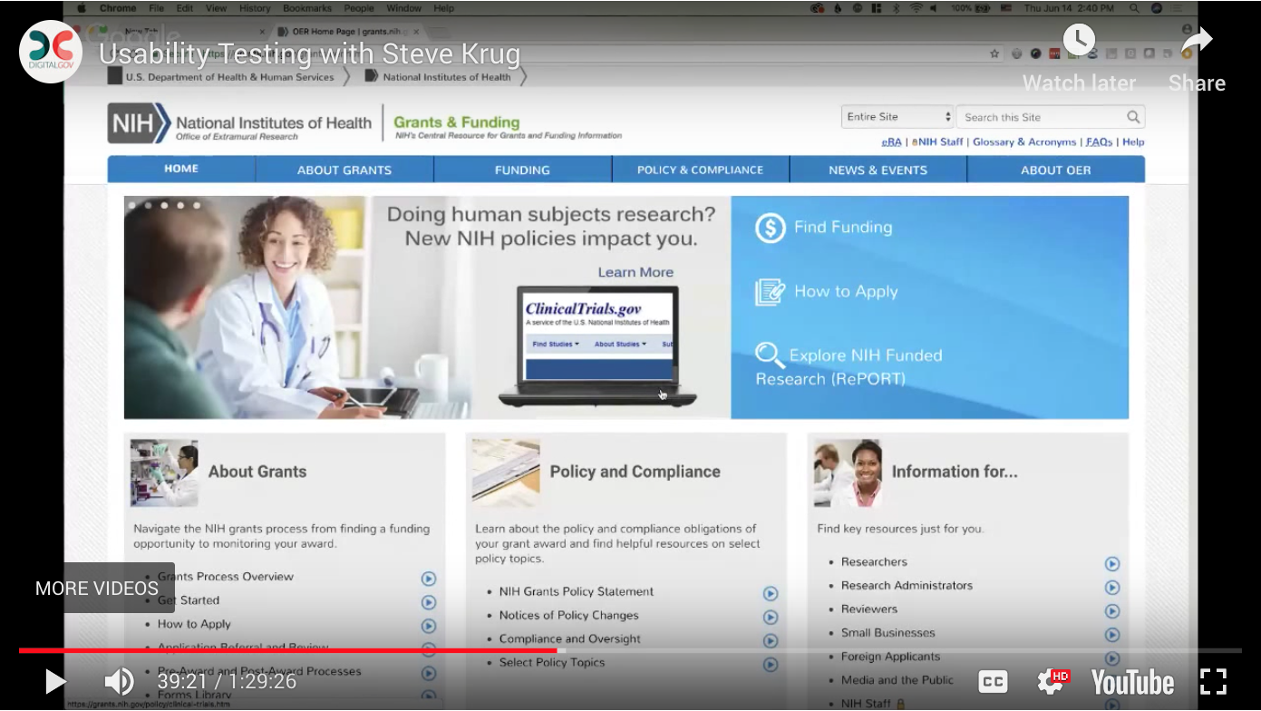 Screenshot of video showing NIH site. When clicked it will take you to the video