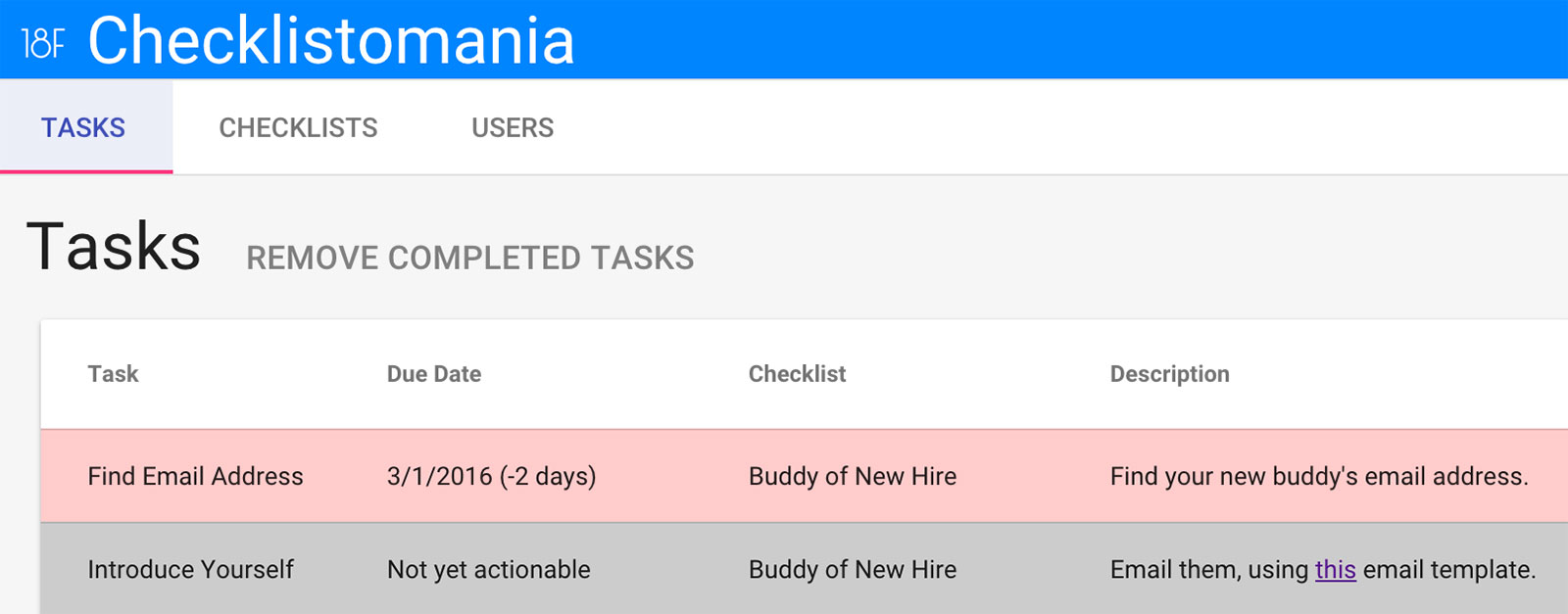 A screenshot of our Checklistomania tool showing two sample tasks