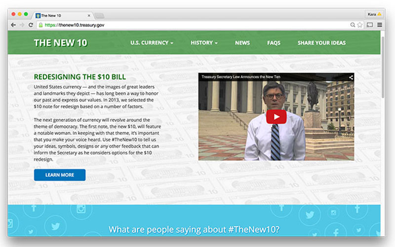 Treasury's The New 10 site