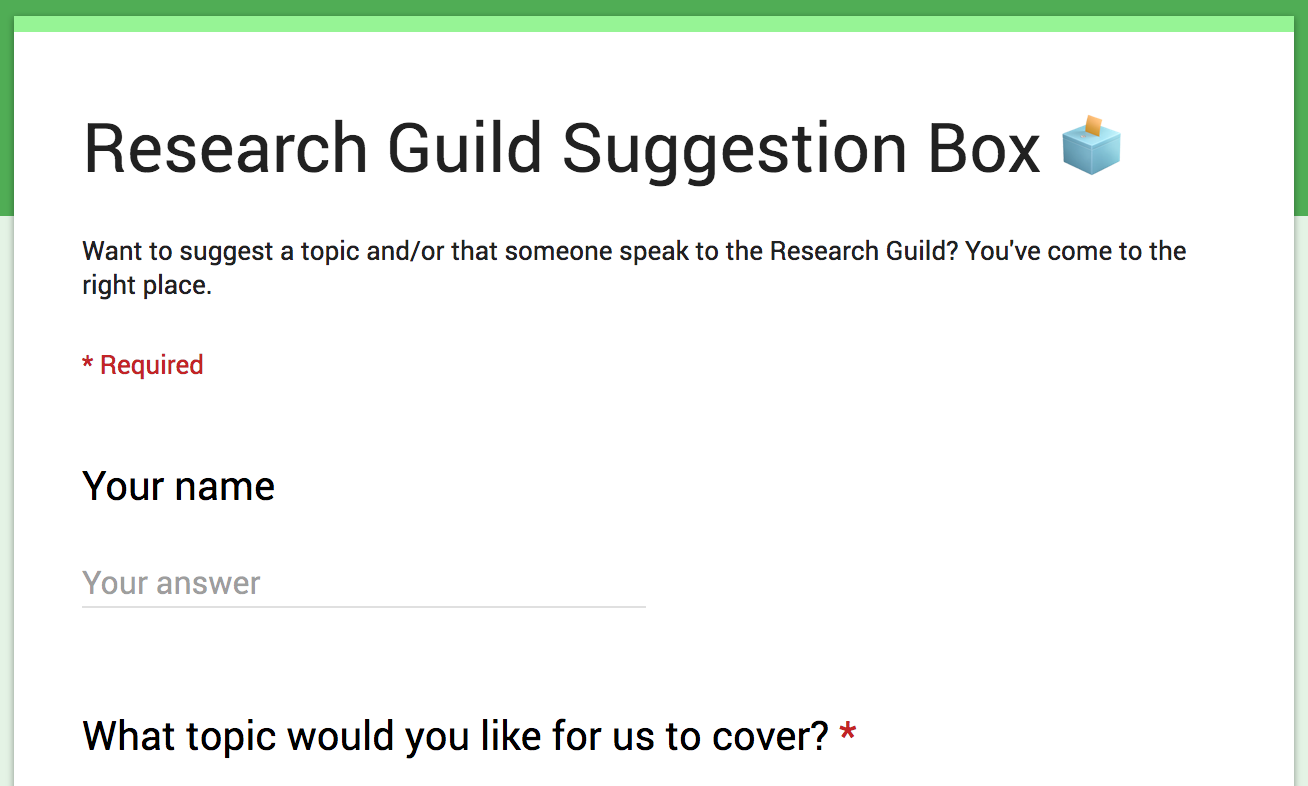 Screenshot of the Research Guild suggestion box form