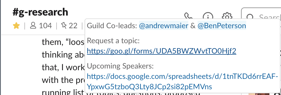 Screenshot of the about section in the guild's slack channel with links to request topics and to see a list of upcoming speakers