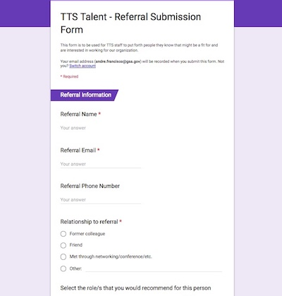 Screenshot of the TTS Referral Submission Form showing questions   about a referral candidate.