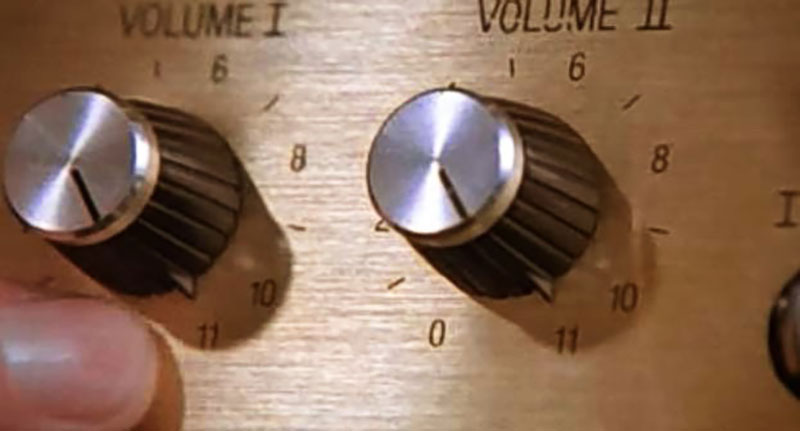 A screenshot from the movie Spinal Tap showing a guitar amp dial that goes up to 11