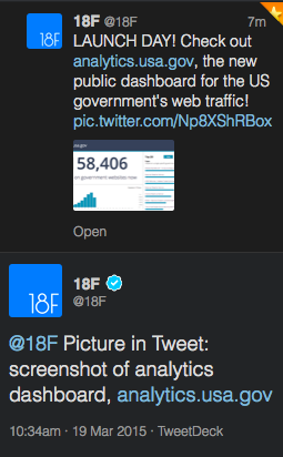 Screenshot of tweet from 18F responding to tweet with description of image contained in first tweet