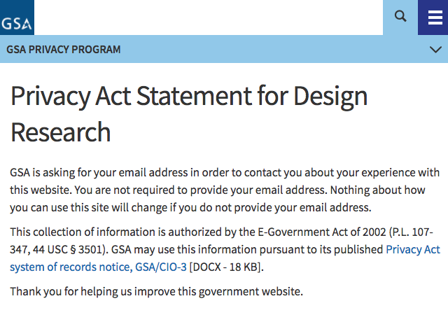 A screenshot of GSA's Privacy Act Statement for Design Research