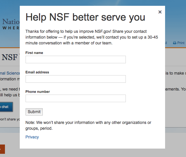 An example of a landing page for the GSA Recruiter on the National Science Foundation's website.