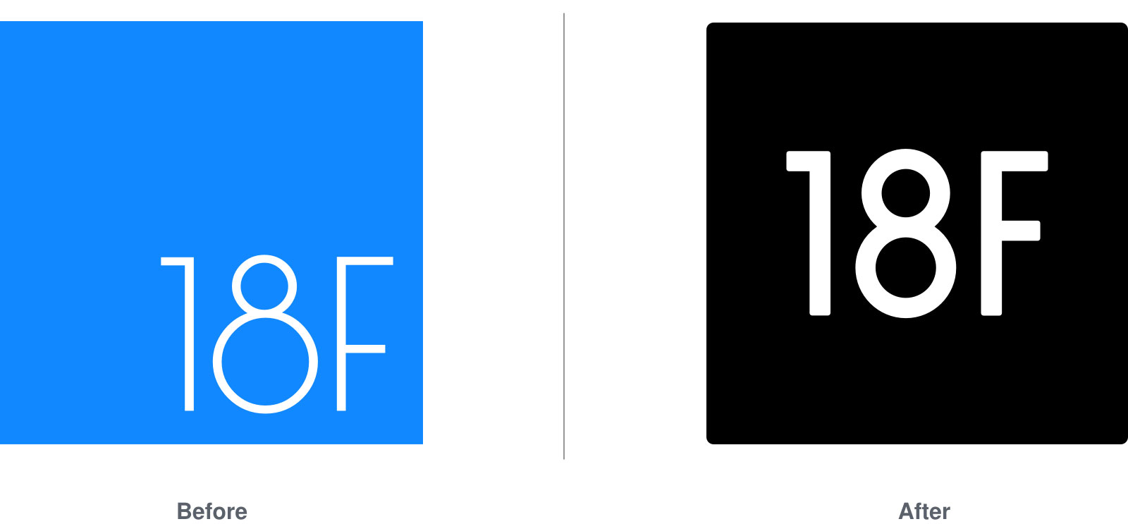 The old blue 18F logo and the new black 18F logo