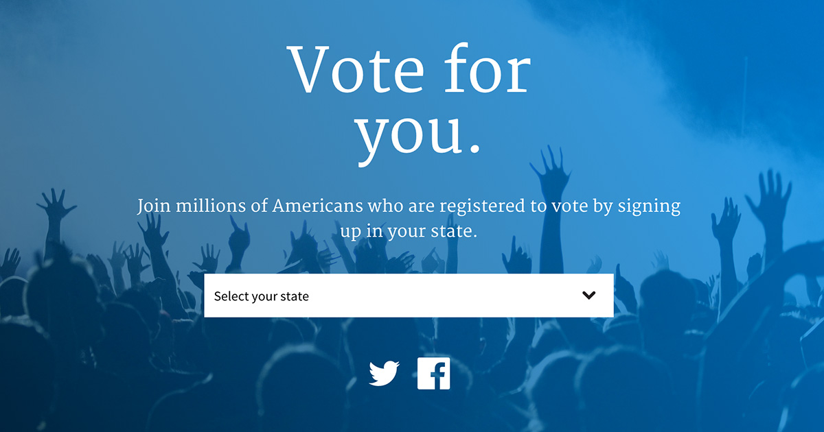 The vote.usa.gov homepage