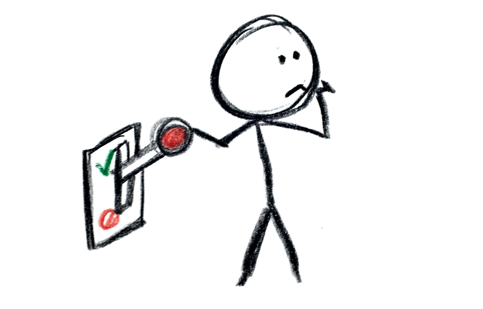 Stick figure holding onto a yes/no switch.