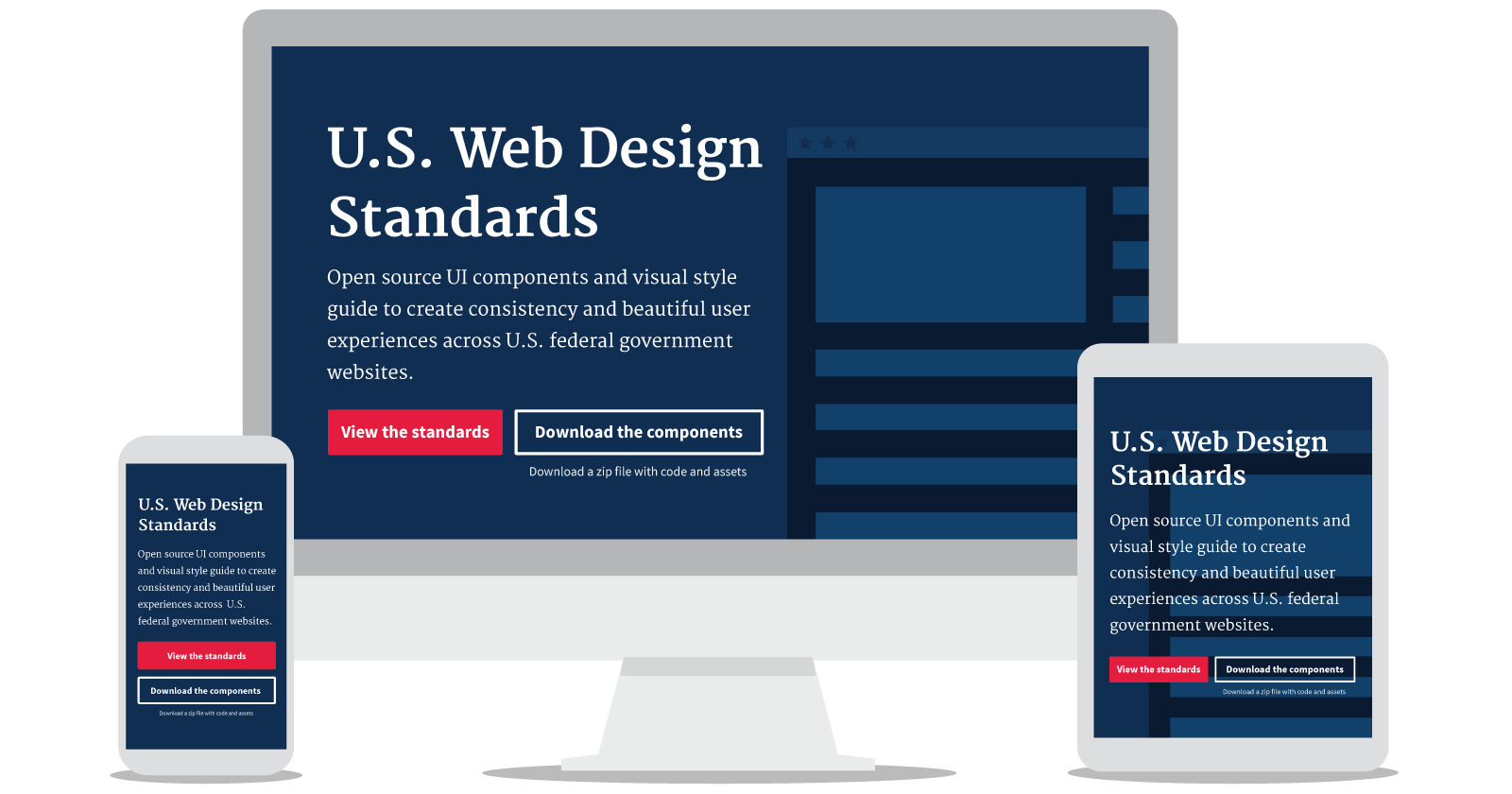 A Screenshot Of The U.S. Web Design Standards On A Desktop, Tablet, And  Mobile